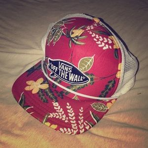 Vans red and white trucker hat with floral pattern